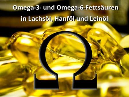 Omega-3- und Omega-6-Fettsäuren in Lachsöl, Hanföl und Leinöl