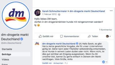 dm Facebook Kommentar: Hunde erlaubt