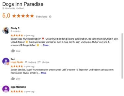 Dogs Inn Paradise, Marina Schnurrer, Meinung von Kunden in Bamberg