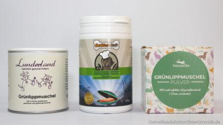 Anbieter von Grünlippmuschelpulver für Hunde: Lunderland, Hundkochprofi, Freudentier