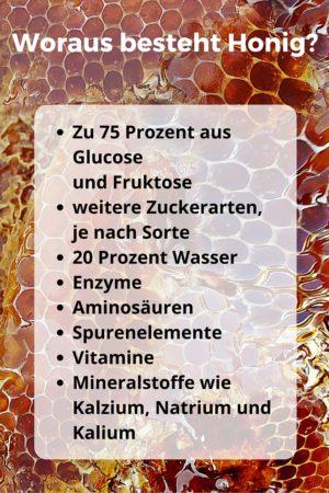 Honig Bestandteile wie Glucose, Fructose und Enzmye