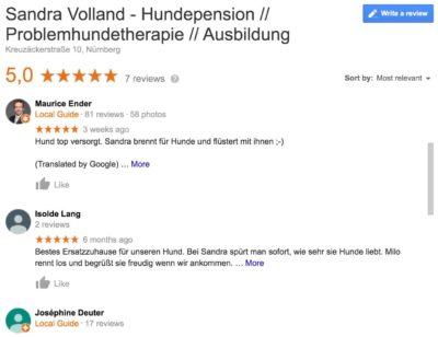 Hundepension Sandra Volland, Meinung von Kunden in Nürnberg