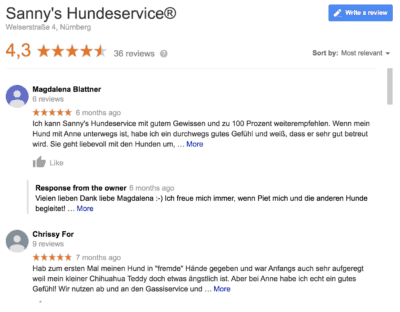 Hundepension Sanny's Hundeservice, Meinung von Kunden in Nürnberg