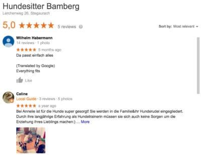 Hundesitter Bamberg, Annelie Habermann, Meinung von Kunden in Bamberg