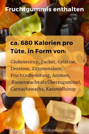 Inhaltsstoffe einer Tüte Gummibärchen